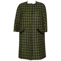 Louis Vuitton Tweed and Leather Trim Oversize Coat