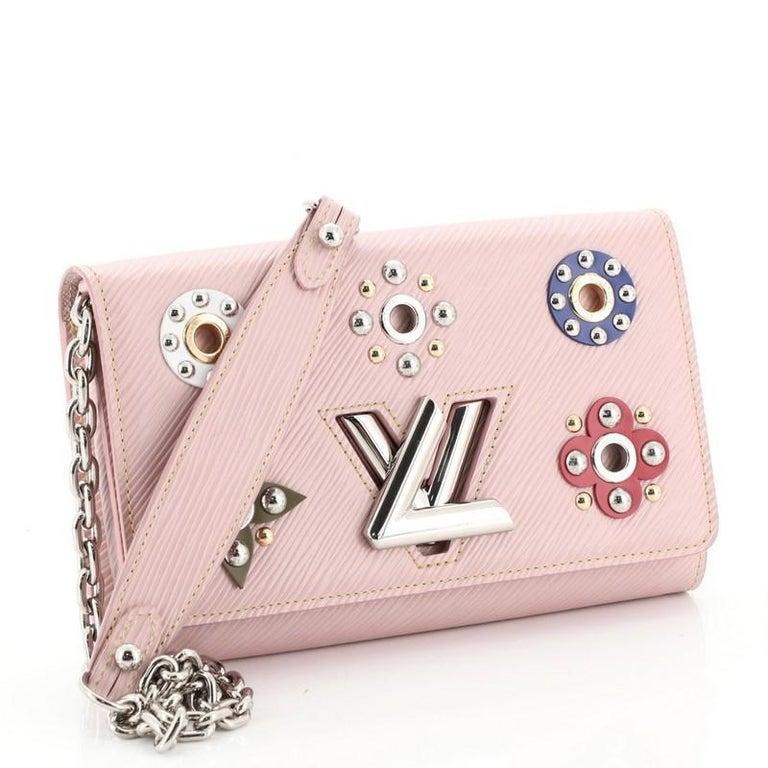 Beige Louis Vuitton Twist Chain Wallet Limited Edition Mechanical Flowers Epi Leather For Sale