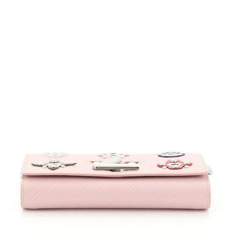 Women's or Men's Louis Vuitton Twist Chain Wallet Limited Edition Mechanical Flowers Epi Leather For Sale