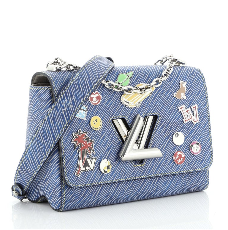 Gray Louis Vuitton Twist Handbag Limited Edition Pin Embellished Epi Leather MM