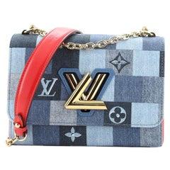 Louis Vuitton Twist Handbag Patchwork Denim MM