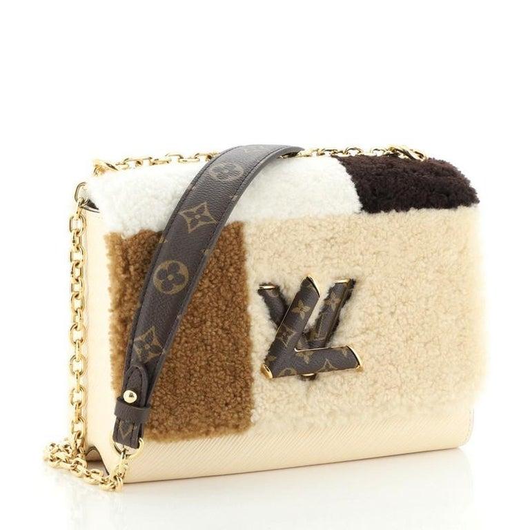 Beige Louis Vuitton Twist Handbag Teddy Fleece with Epi Leather MM For Sale