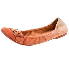 Louis Vuitton Two Tone Denim Buckle Scrunch Ballet Flats Size 37.5