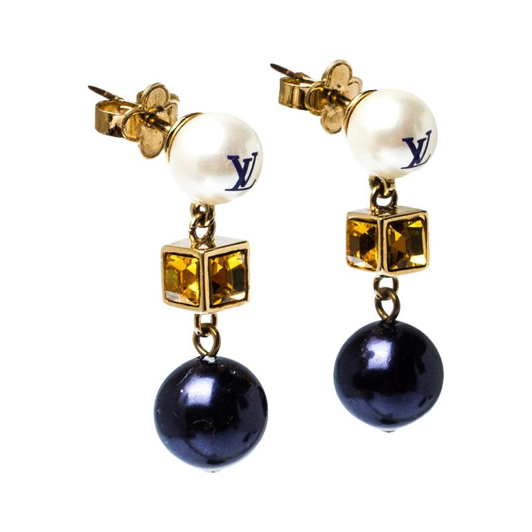 Louis Vuitton Two Tone Faux Pearl and Crystal Cry Me A River Drop Earring For Sale