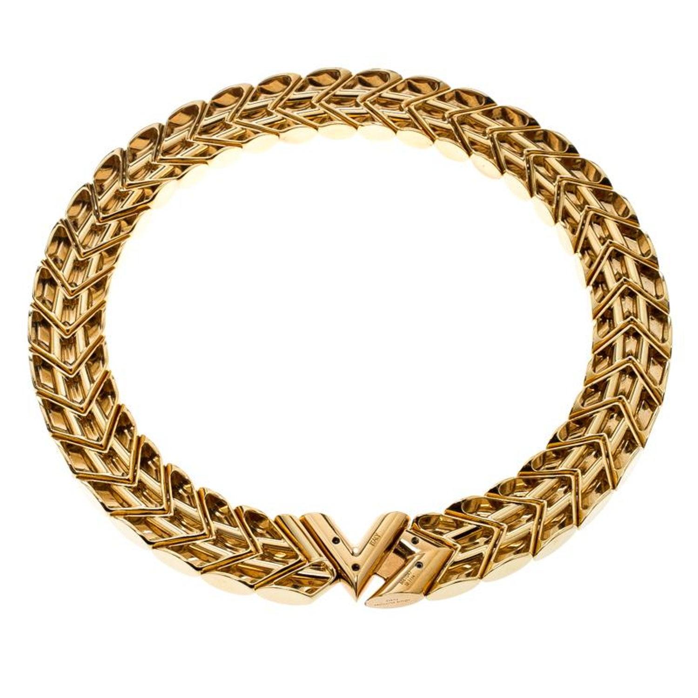 2d3850c717caf Louis Vuitton Unchain V Gold Tone Choker Necklace