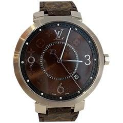 Louis Vuitton Unisex Tambour Slim Monogram Macassar 39 Watch