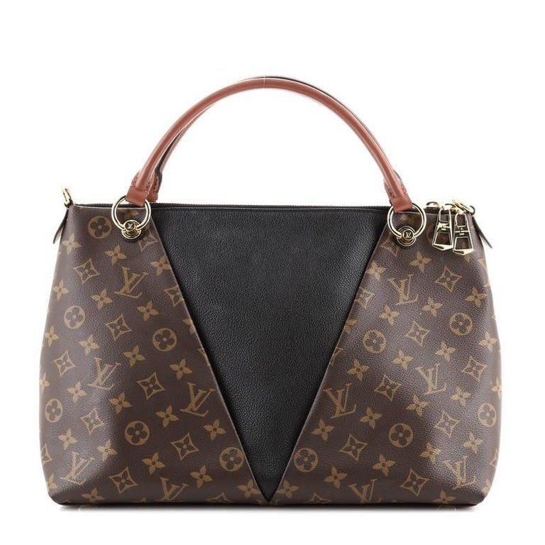 Women's or Men's Louis Vuitton V Tote Monogram Canvas and Leather MM For Sale