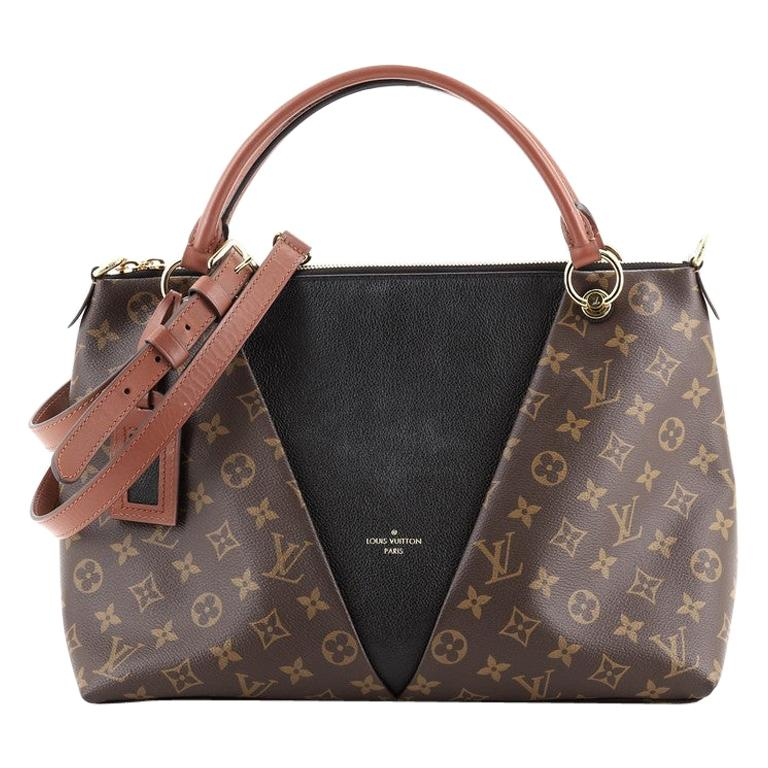 Louis Vuitton V Tote Monogram Canvas and Leather MM For Sale