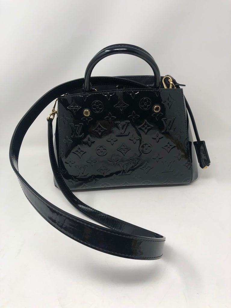 Louis Vuitton Vernis Black Montaigne BB Bag For Sale 7