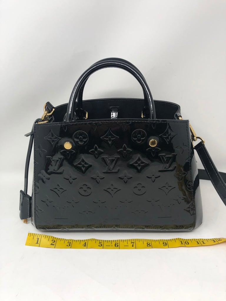 Louis Vuitton Vernis Black Montaigne BB Bag For Sale 8