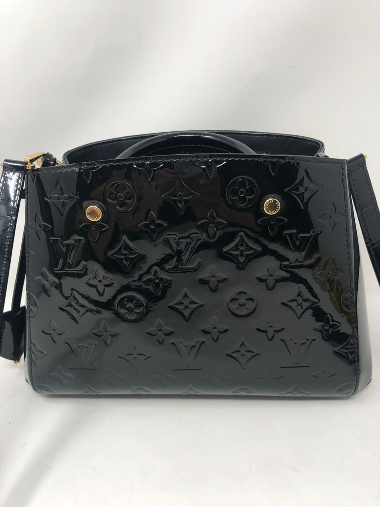 Louis Vuitton Vernis Black Montaigne BB Bag. Can be worn as a crossbody. 2 way bag. All leather in excellent condition. Guaranteed authentic.