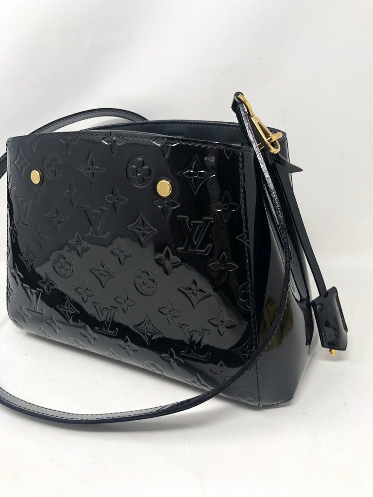 Women's or Men's Louis Vuitton Vernis Black Montaigne BB Bag For Sale