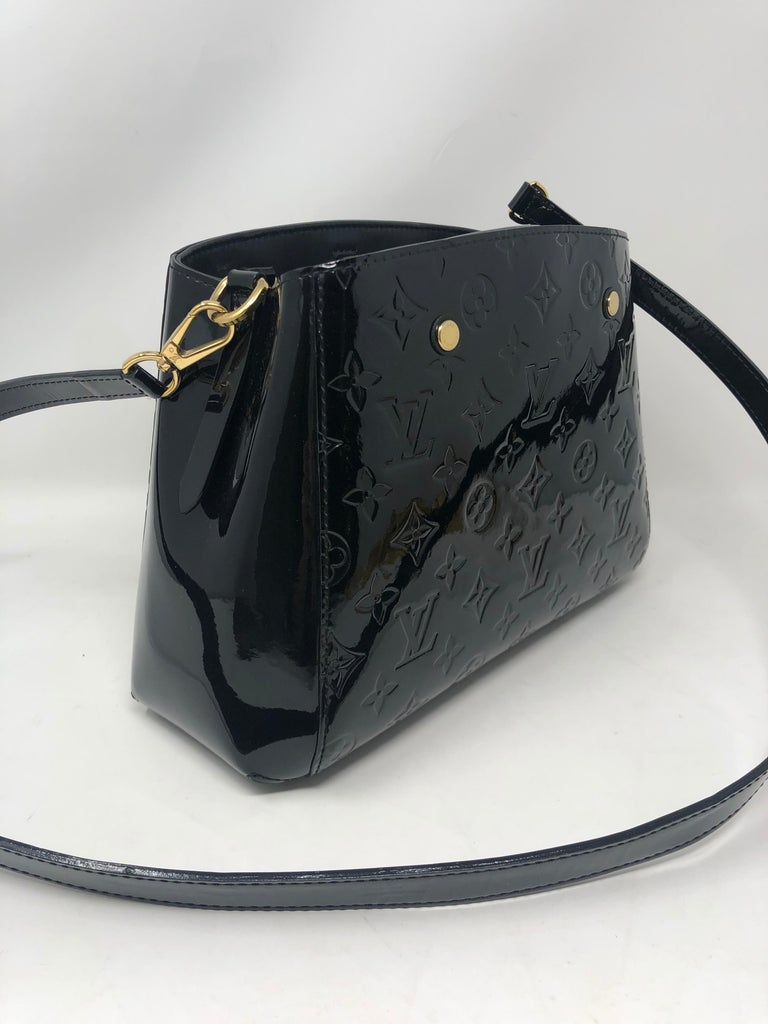 Louis Vuitton Vernis Black Montaigne BB Bag For Sale 1