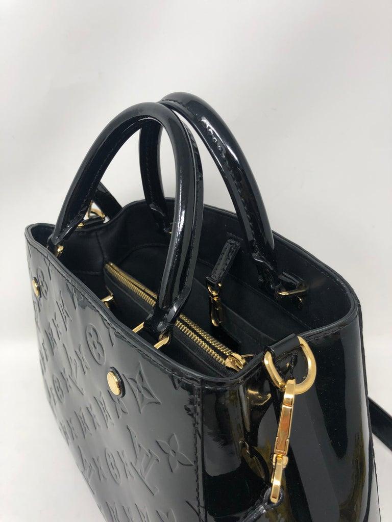 Louis Vuitton Vernis Black Montaigne BB Bag For Sale 4
