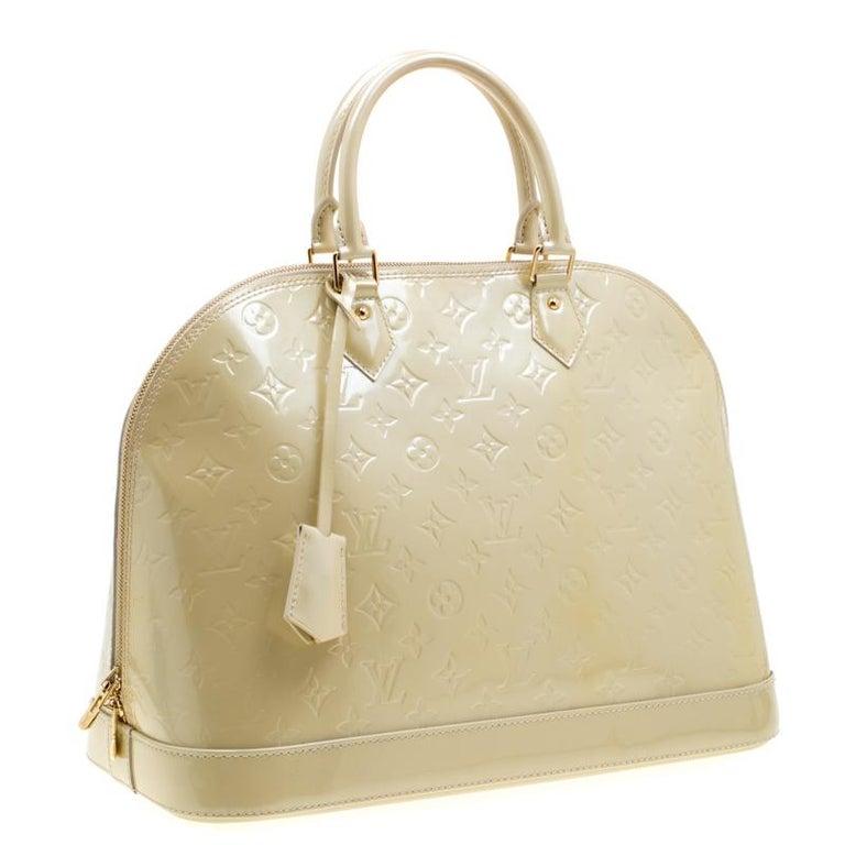 Beige Louis Vuitton Vert Impression Monogram Vernis Alma GM Bag For Sale