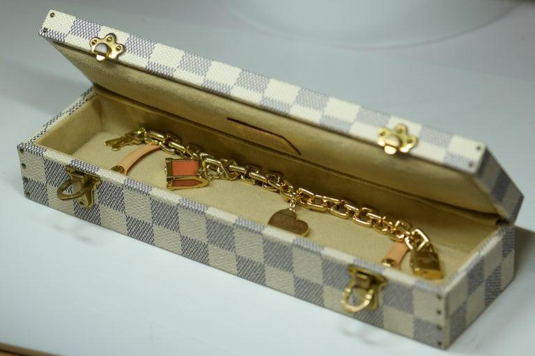 Square Cut Louis Vuitton Vintage 18 Karat Gold Charm Bracelet with Original Case For Sale