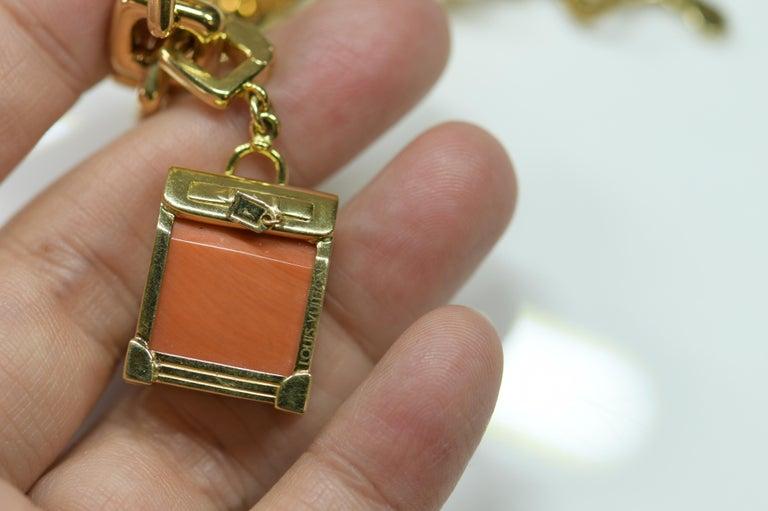 Louis Vuitton Vintage 18 Karat Gold Charm Bracelet with Original Case For Sale 3