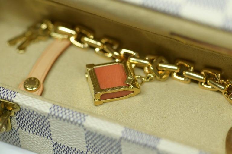 Louis Vuitton Vintage 18 Karat Gold Charm Bracelet with Original Case For Sale 4