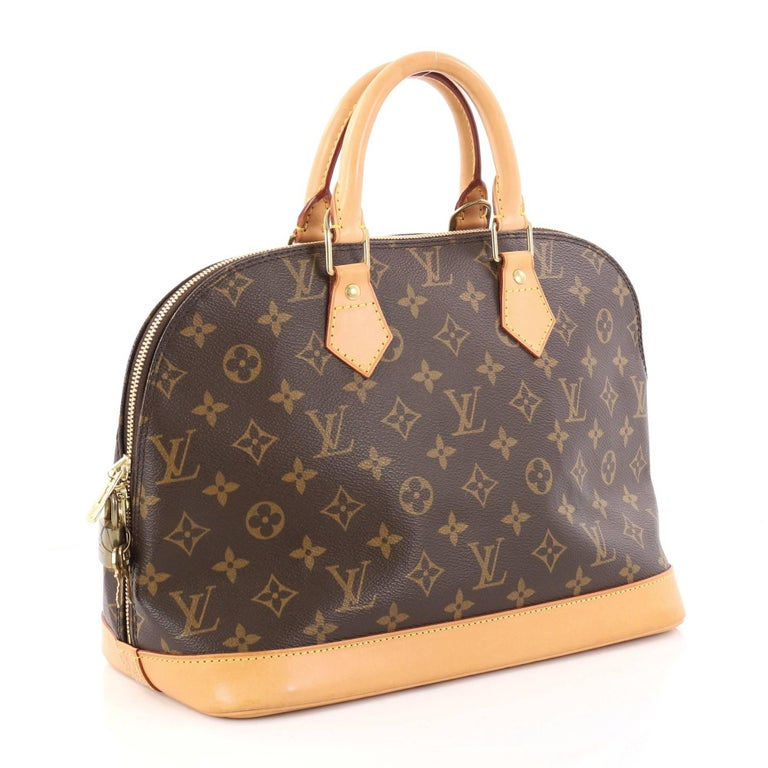 6eb10d52e167 Brown Louis Vuitton Vintage Alma Handbag Monogram Canvas PM For Sale
