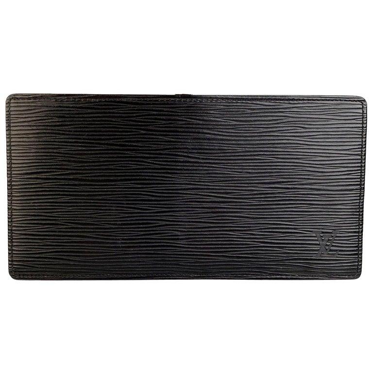 Louis Vuitton Vintage Black Epi Leather Long Card Wallet Ticket Holder For Sale
