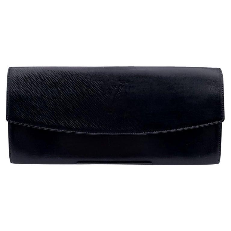 Louis Vuitton Vintage Black Leather Opera Egee Clutch Bag For Sale