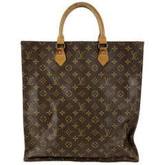 Louis Vuitton Vintage Brown Monogram Canvas Sac Plat GM Tote Bag
