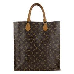 Louis Vuitton Vintage Brown Monogram Canvas Sac Plat GM Tote Bag