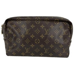 Louis Vuitton Vintage Brown Monogram Canvas Toiletry 28 Cosmetic Bag