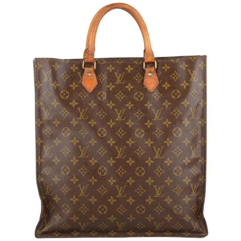 1528f8f6c8e4 Louis Vuitton Vintage Brown Monogram Sac Plat GM Tote Bag Handbag For Sale  at 1stdibs
