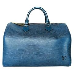 Louis Vuitton Vintage EPI Toledo Blue Speedy 30 Bag