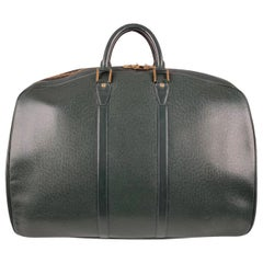 Louis Vuitton Vintage Green Taiga Leather Helanga Suitcase Travel Bag