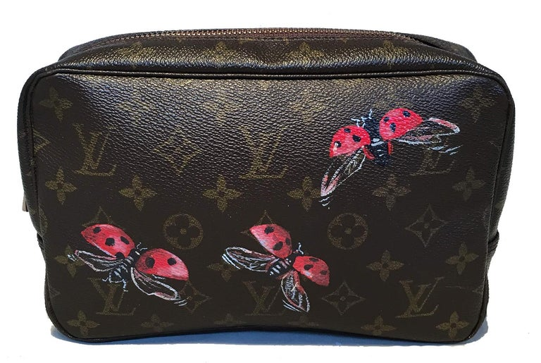 Black Louis Vuitton Vintage Customized Hand Painted Ladybug Trousse Cosmetic Pouch For Sale