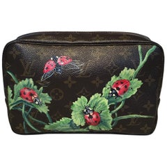 Louis Vuitton Vintage Customized Hand Painted Ladybug Trousse Cosmetic Pouch