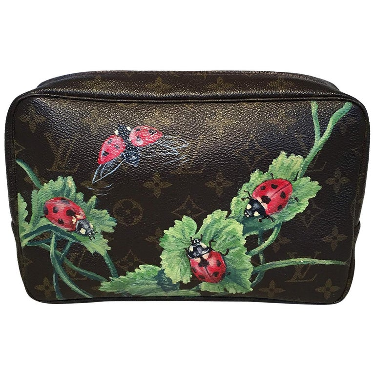 Louis Vuitton Vintage Customized Hand Painted Ladybug Trousse Cosmetic Pouch For Sale