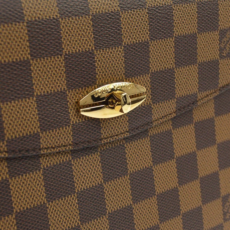Louis Vuitton Vintage Damier Kelly Style Gold Evening Top Handle Satchel Bag   Monogram canvas Gold tone hardware Turnlock closure Made in France Date code present Handle drop 5