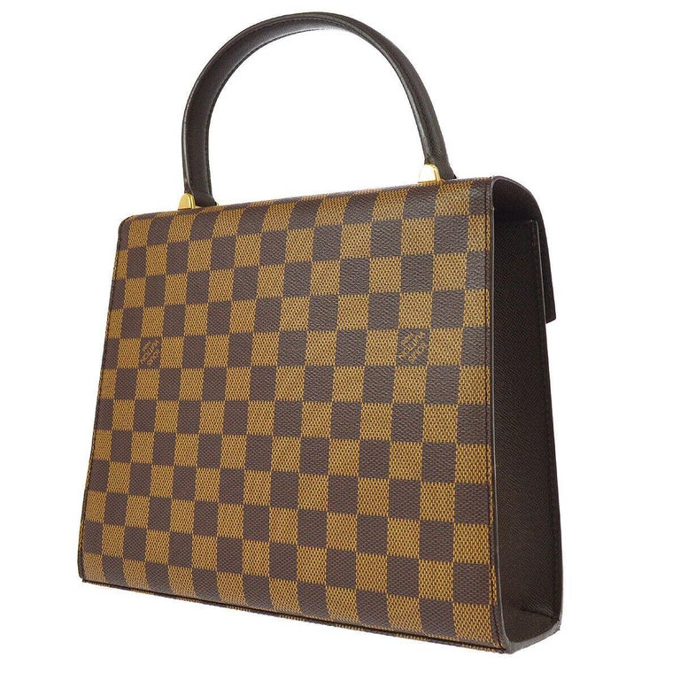 Brown Louis Vuitton Vintage Kelly Style Gold Evening Top Handle Satchel Bag For Sale