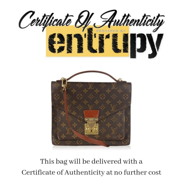 Louis Vuitton vintage 'Monceau 28' Satchel/Messenger Bag crafted in timeless monogram canvas with brown leather trim. Structured design with flap closure and front S-lock closure. Front open pocket under the flpa. Brown leather lining. 1 side zip
