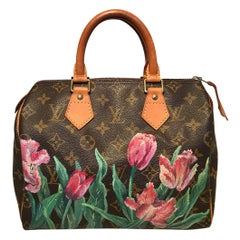 Louis Vuitton Vintage Monogram Customized Hand Painted Pink Tulip Speedy 25