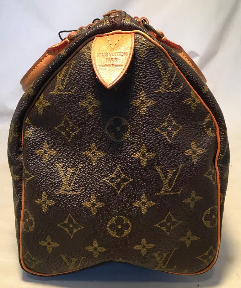 Louis Vuitton Vintage Monogram Customized Hand Painted Wine Grapes Speedy 30 Handbag in excellent condition. Monogram canvas exterior trimmed with tan leather and brass hardware. Customized, hand painted wine grapes and grapevine along front side by