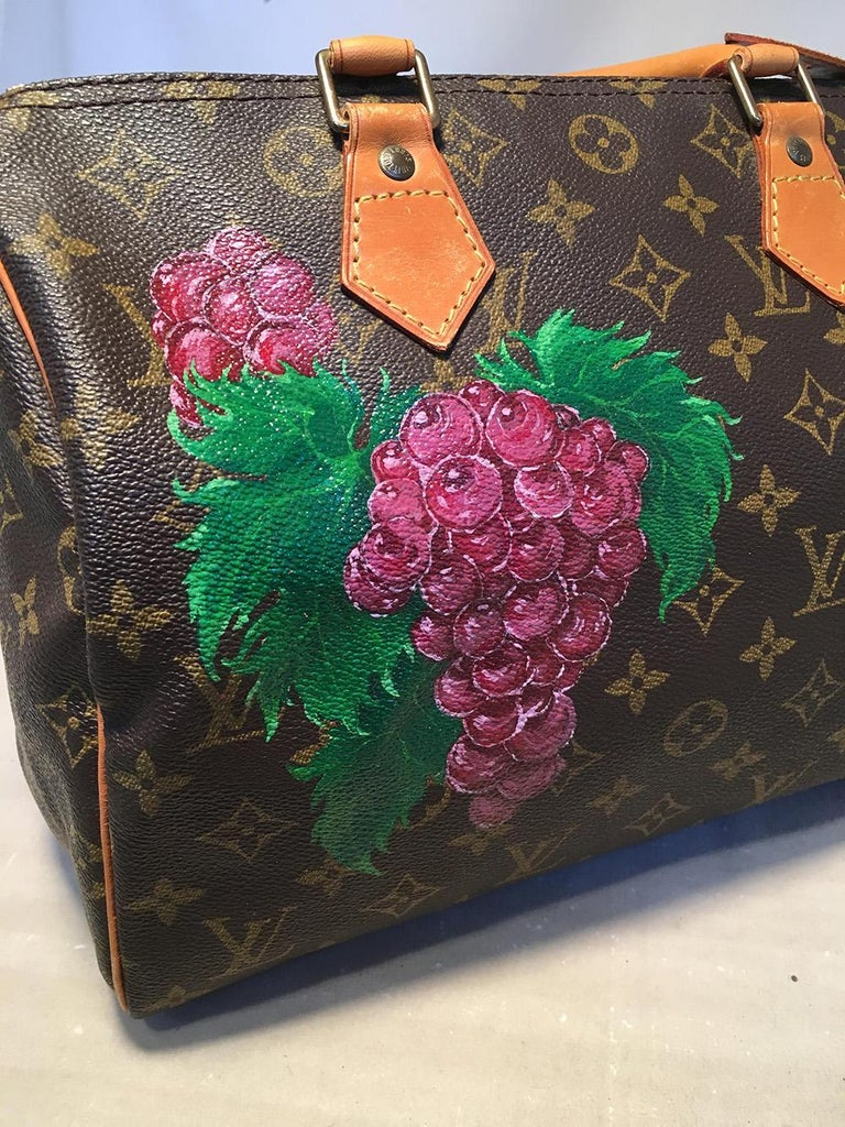 Women's Louis Vuitton Vintage Customized Hand Painted Wine Grapes Speedy 30 Handbag For Sale