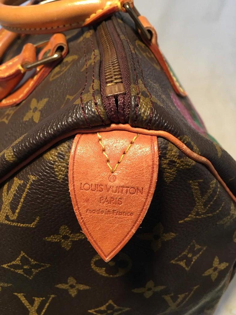Louis Vuitton Vintage Customized Hand Painted Wine Grapes Speedy 30 Handbag For Sale 1