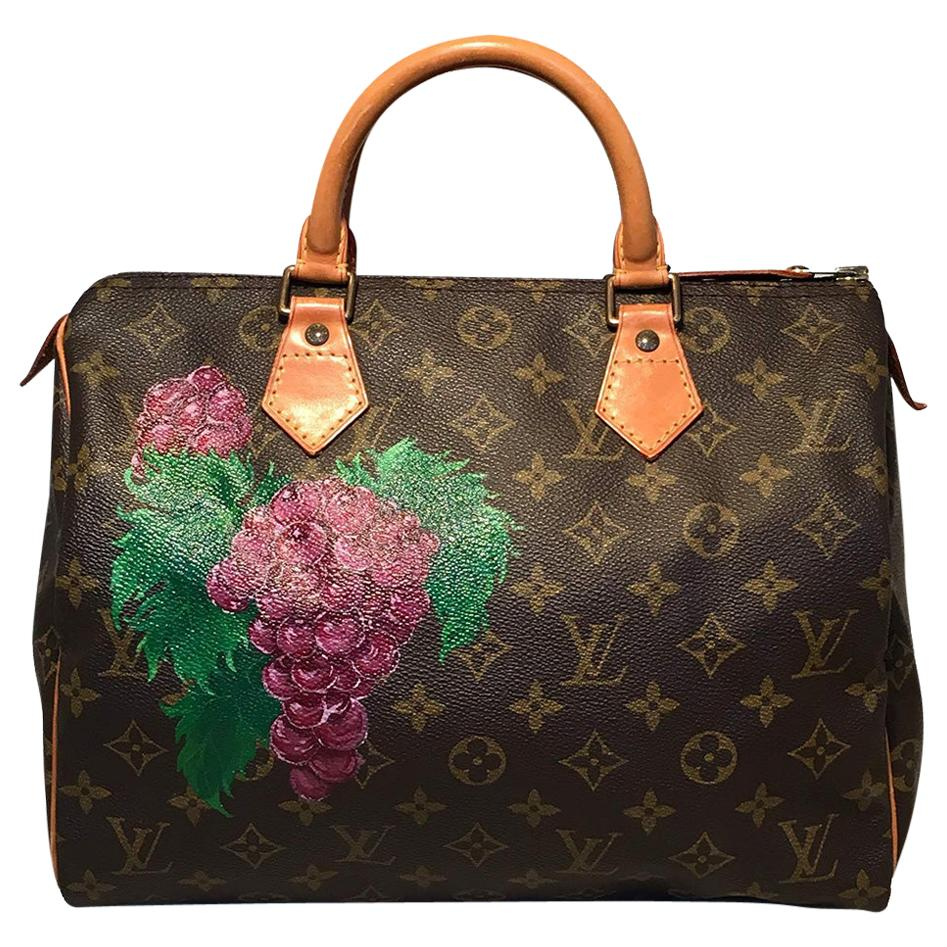 Louis Vuitton Vintage Customized Hand Painted Wine Grapes Speedy 30 Handbag