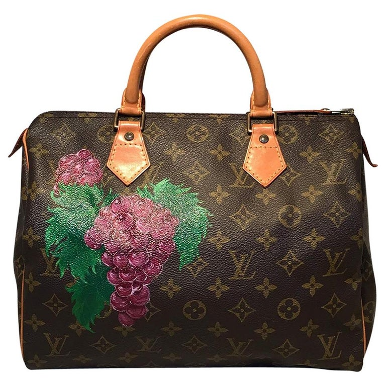 Louis Vuitton Vintage Customized Hand Painted Wine Grapes Speedy 30 Handbag For Sale