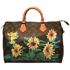 Louis Vuitton Vintage Monogram Hand Painted Yellow Sunflower Speedy 35 Handbag