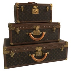 Louis Vuitton Vintage Petite Eifel Tower Stack Alzer Trunk Set of Three