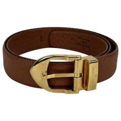 Louis Vuitton Vintage Tan Taiga Leather Classique Belt Size 85/34