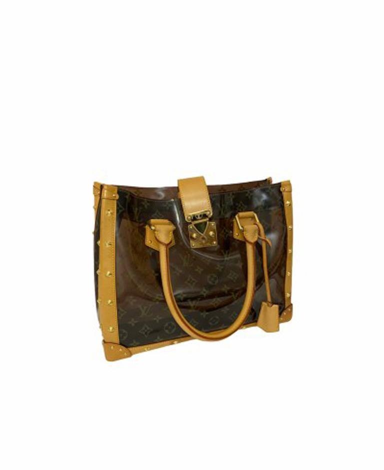Louis Vuitton Vinyl Neo Cabas Le Shoulder Bag in Brown Vinyl with Cowhide In Excellent Condition For Sale In Torre Del Greco, IT