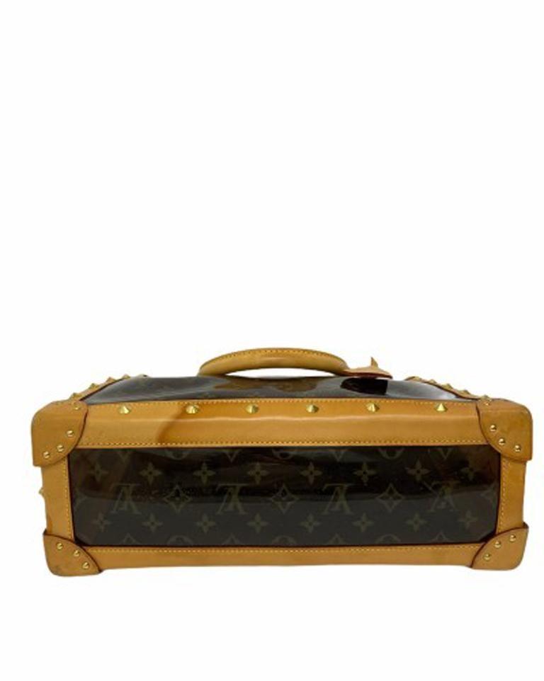 Louis Vuitton Vinyl Neo Cabas Le Shoulder Bag in Brown Vinyl with Cowhide For Sale 2