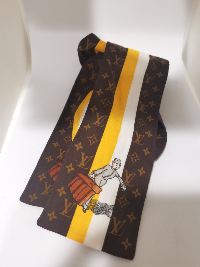 Louis Vuitton Voyage brown white orange scarf - foulard For Sale 1