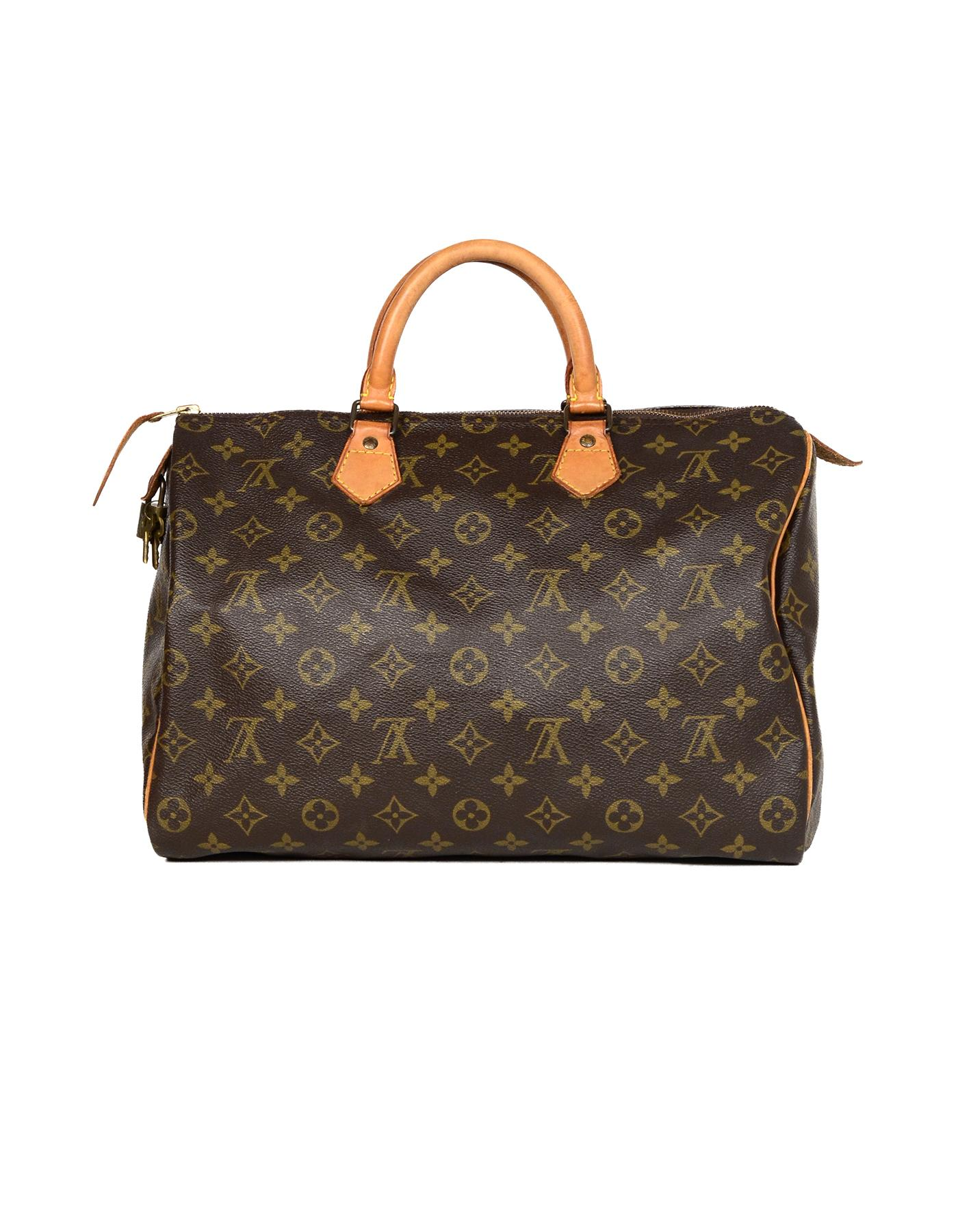 Louis Vuitton Vtg  90s LV Monogram Canvas Speedy 35 Top Handle Bag W  Lock  and Key For Sale at 1stdibs aba5e3ab2c
